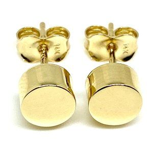 14K YELLOW GOLD 6MM STUD CYLINDER EARRINGS